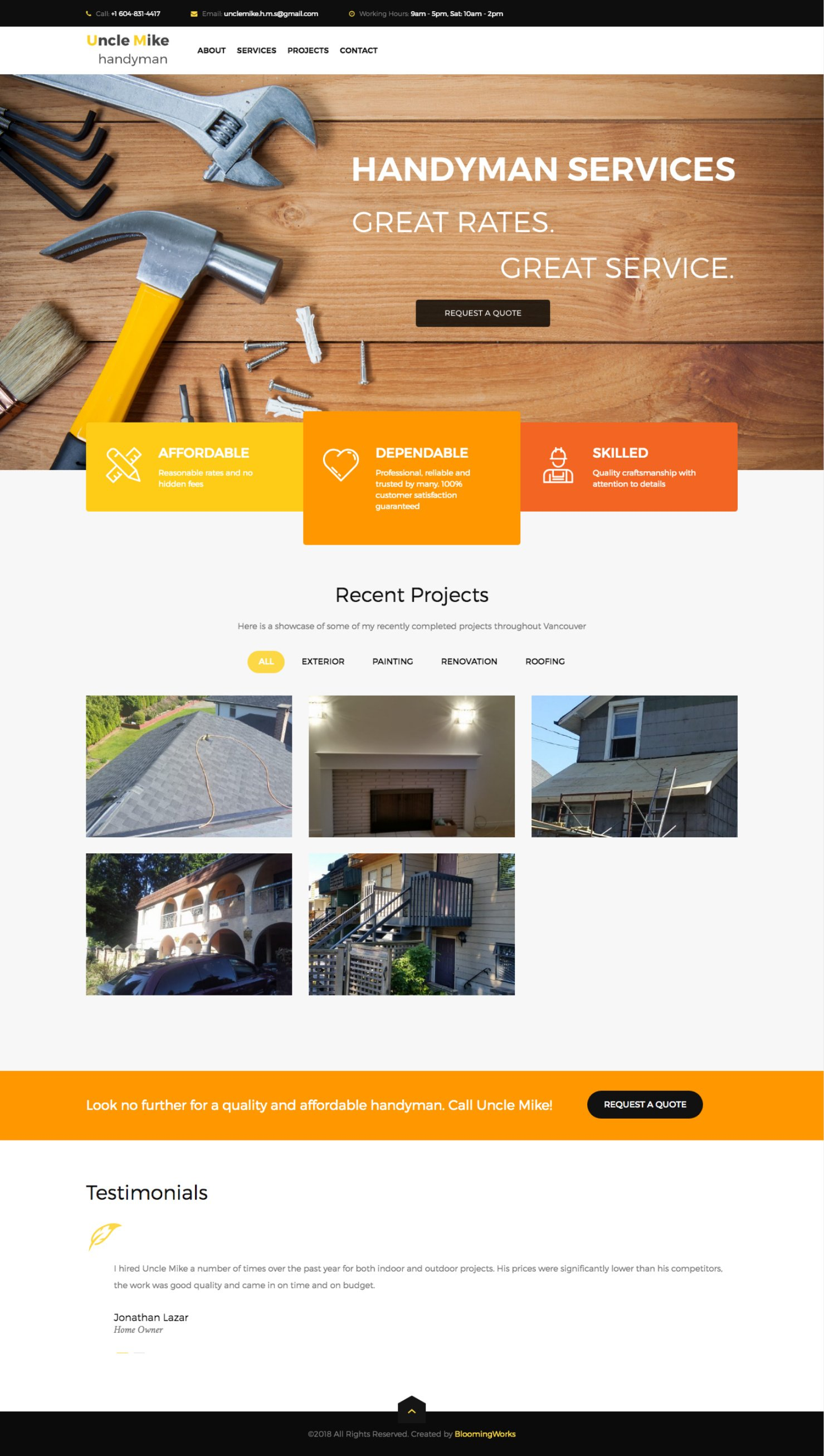 Handyman Web Design Template