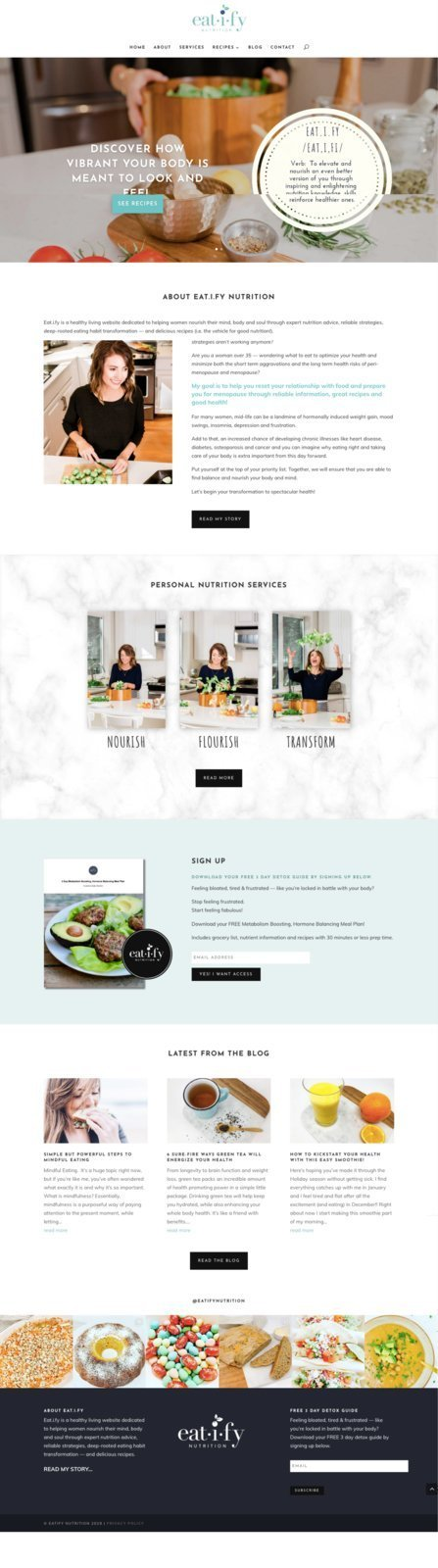 Nutritionist and Hypnotherapist HomePage Design