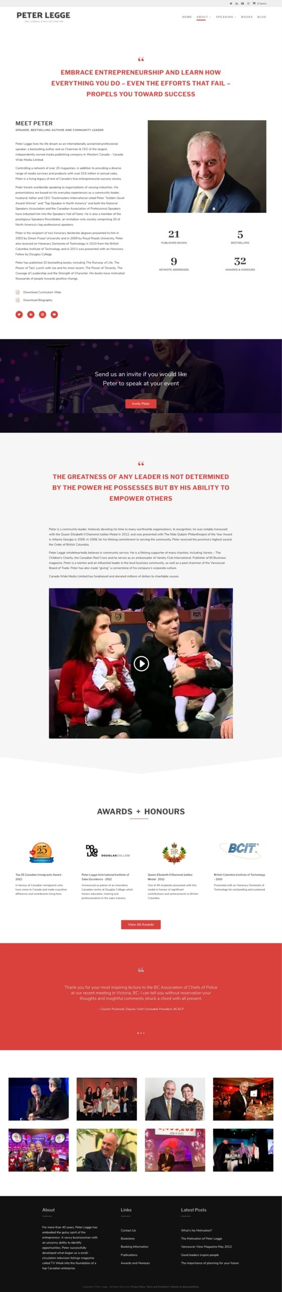 Peter Legge Website Design About Page