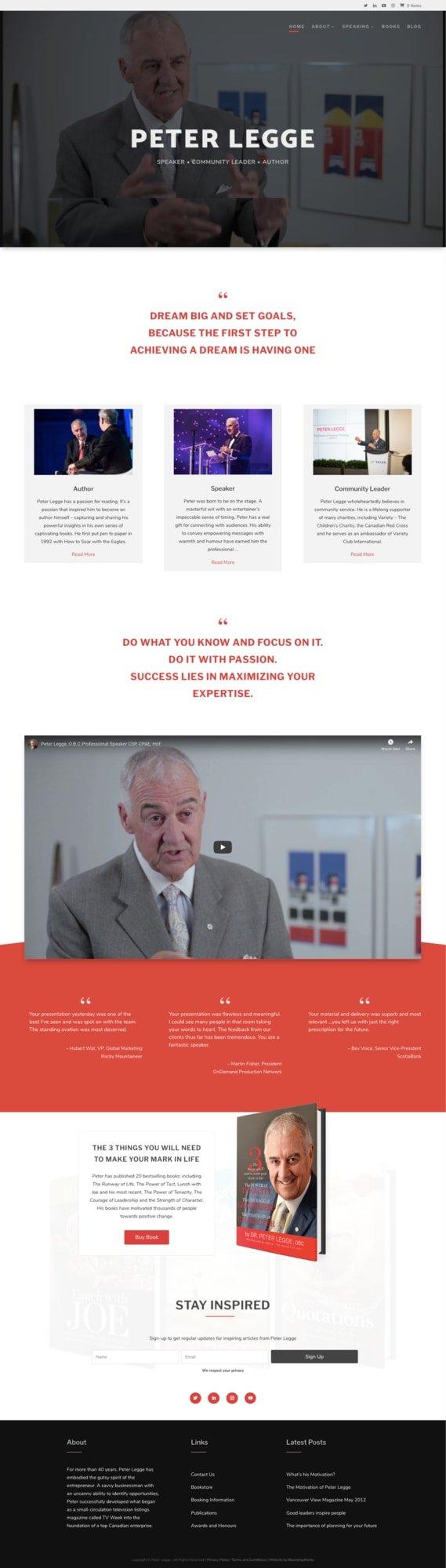 Peter Legge Website Design full screen