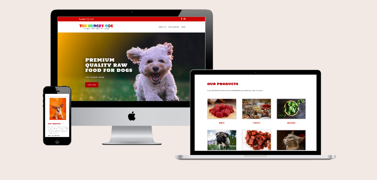 E-commerce website for pet food and grooming services