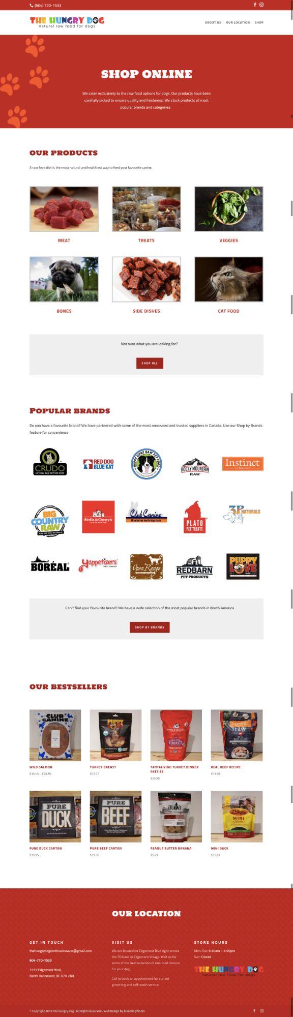 Web design for online pet food store