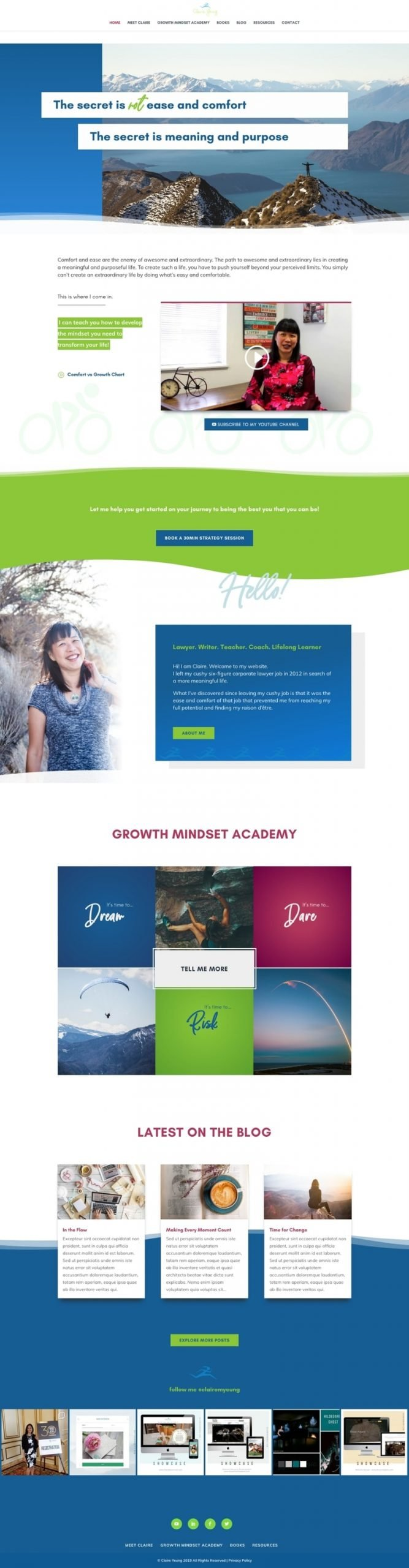 Claire Yeung Life Coach Website Home page