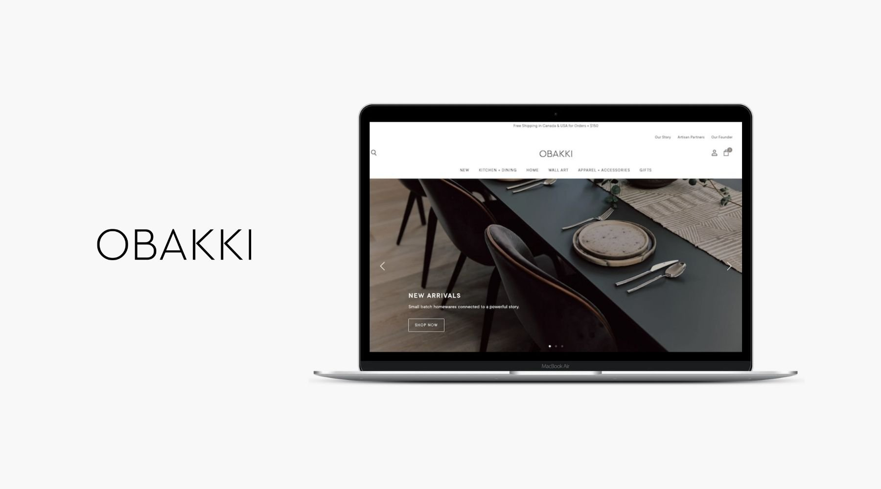 Shopify Website Design for Homewares - Obakki Vancouver